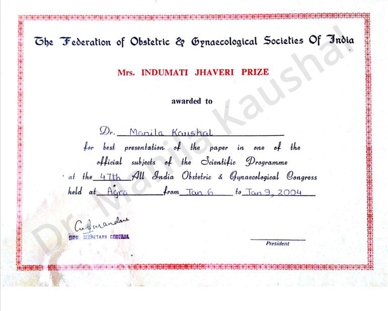 Dr Manila Jain :: Awards